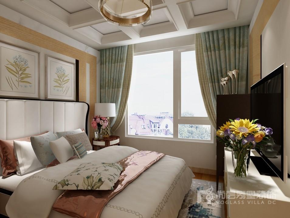 美式混搭风格主卧室装修设计效果图