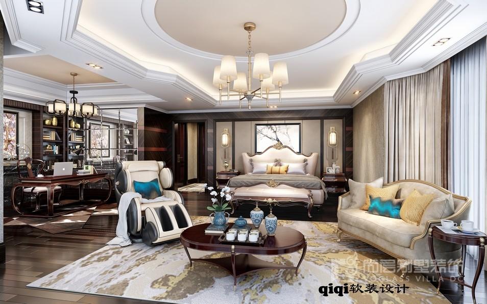 闵行星河湾中式轻奢风格主卧室装修效果图