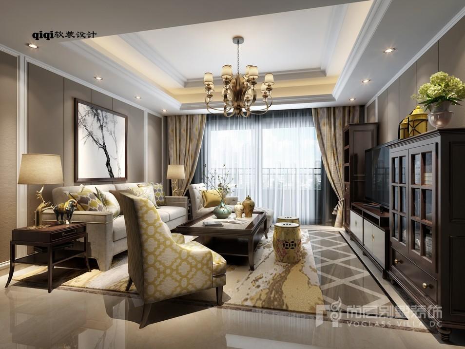 美式禅意风格客厅装修设计效果图