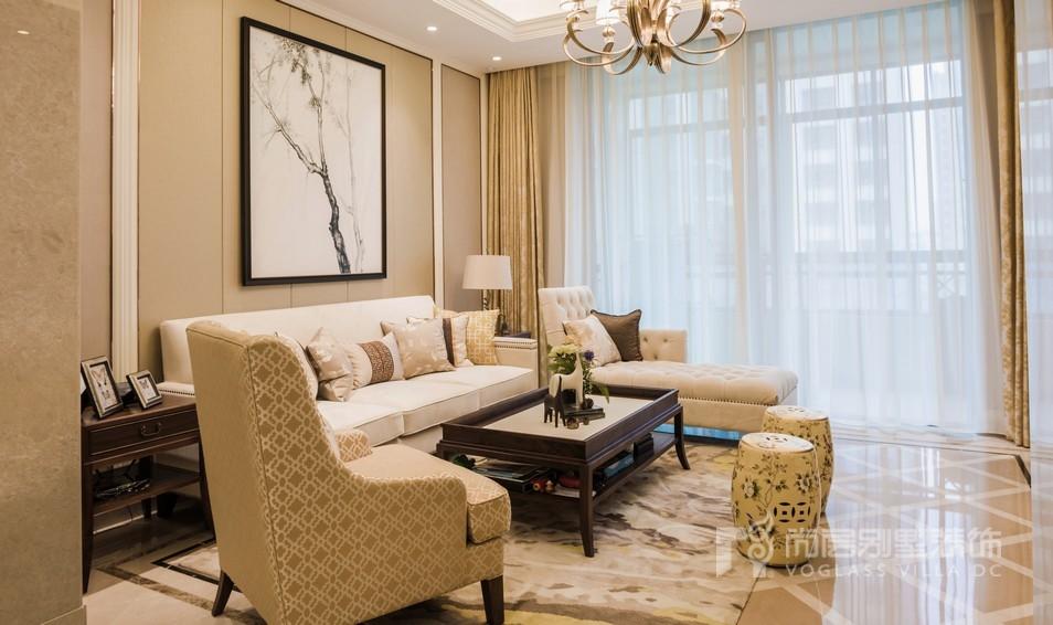 美式禅意风格客厅软装设计实景图