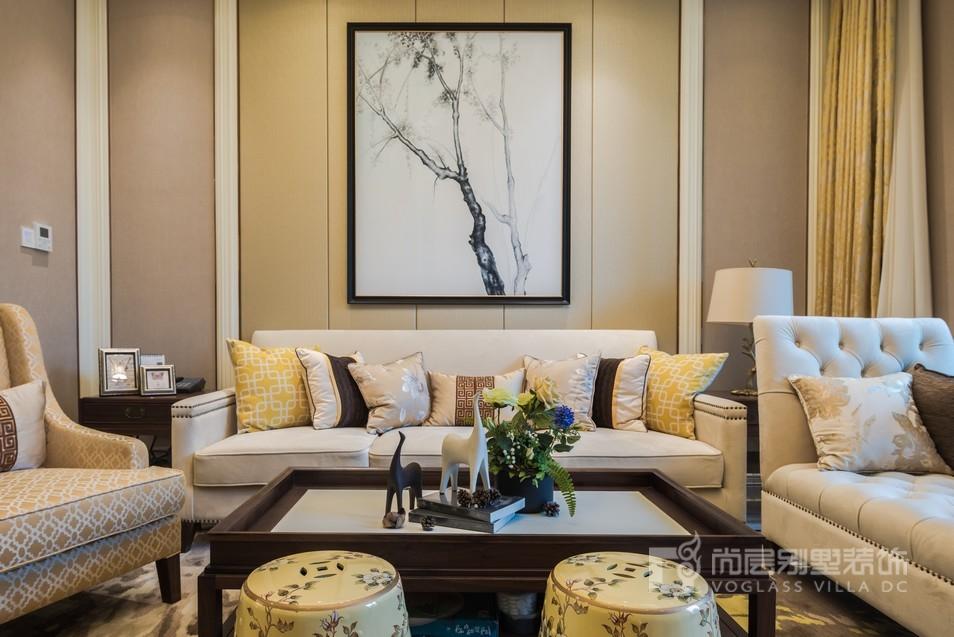 美式禅意风格客厅装修设计实景图