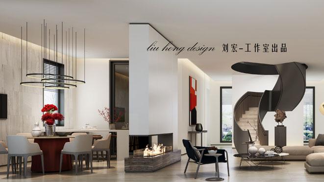 独栋别墅现代风格客餐厅装修效果图