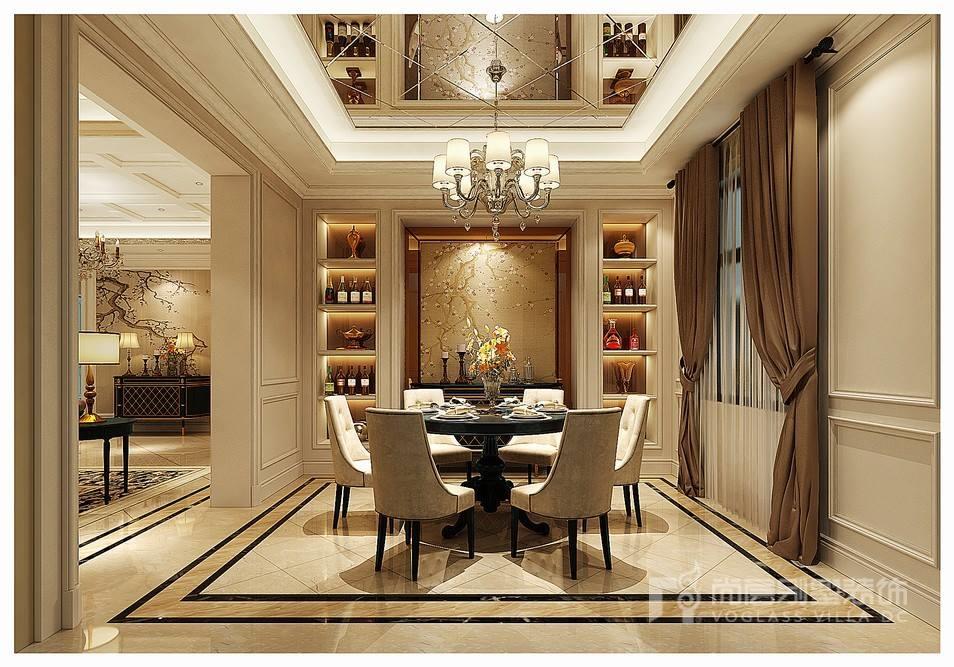 欧式风格独栋别墅餐厅装修设计效果图