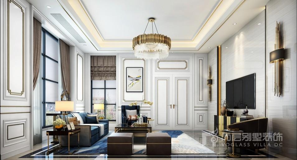 中骏天誉别墅现代奢华风格客厅装修效果图