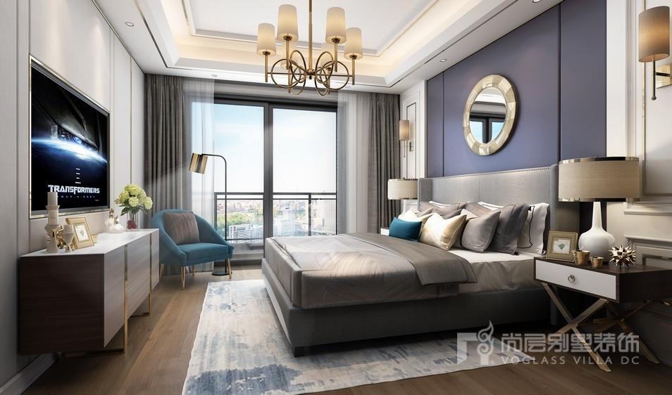 现代奢华风格独栋别墅卧室装修效果图