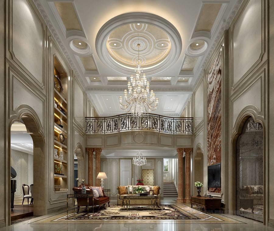 欧式风格跃层别墅大厅装修设计效果图