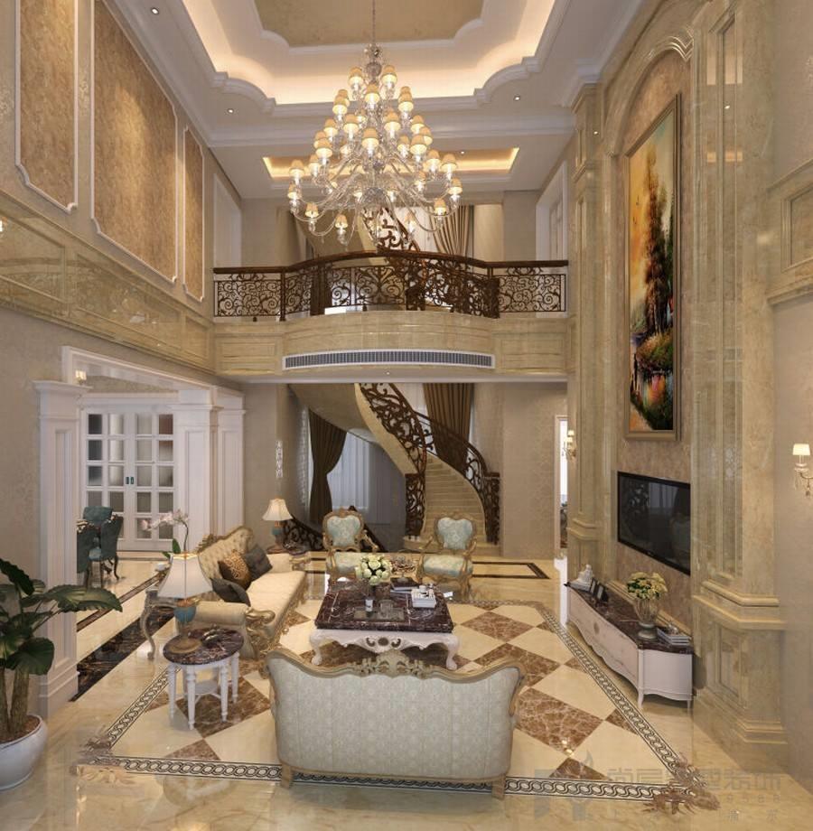 奢华古典的跃层别墅装修设计风格,也只有这样的大厅才能完美