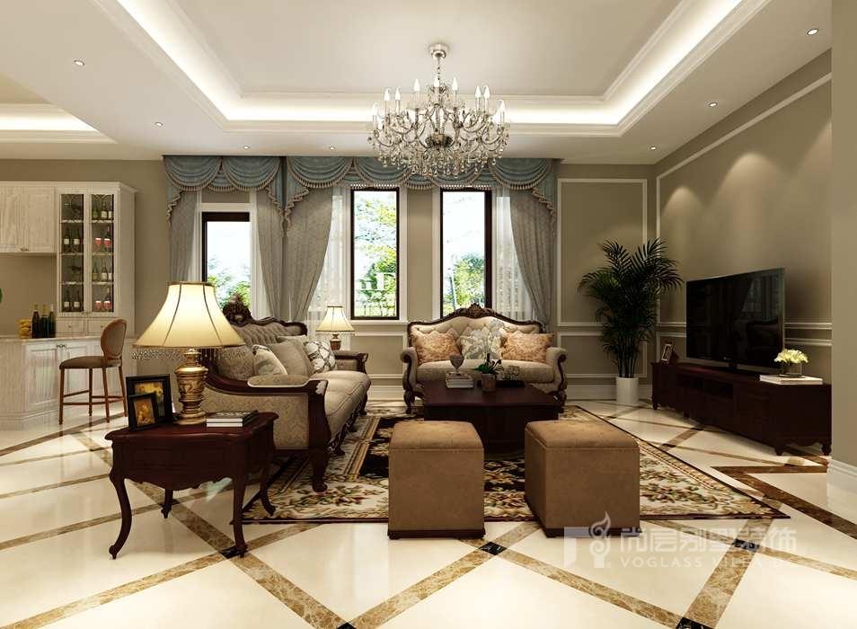 御汤山美式风格客厅别墅装修效果图