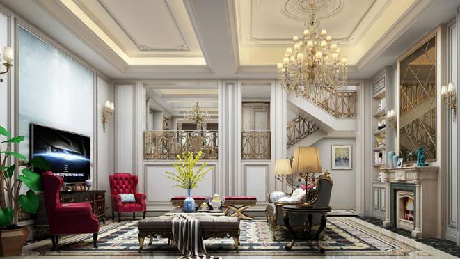 金枫豪苑新古典风格客厅装修效果图