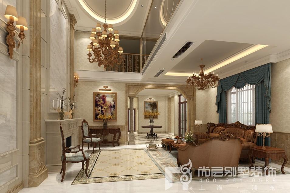 中建大公馆新古典风格一楼客厅装修设计效果图