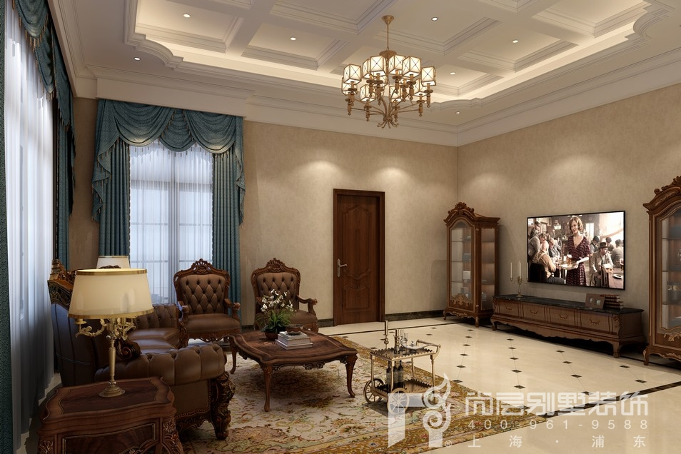 中建大公馆地下室客厅装修设计效果图