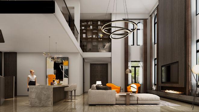 东海御庭现代简约风格客厅装修设计效果图