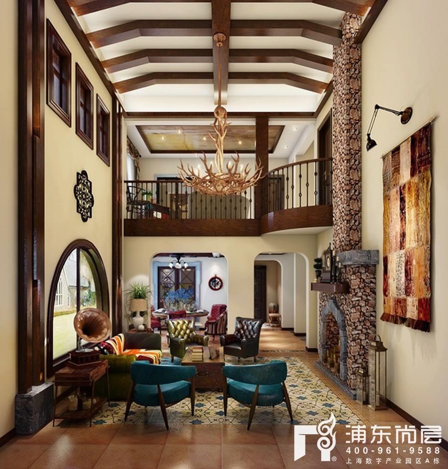 韦老师复古风格别墅客厅案例效果图