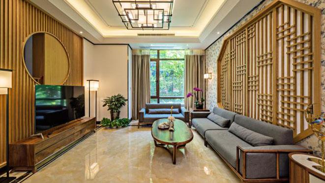 尚东鼎新中式风格别墅客厅装修效果图