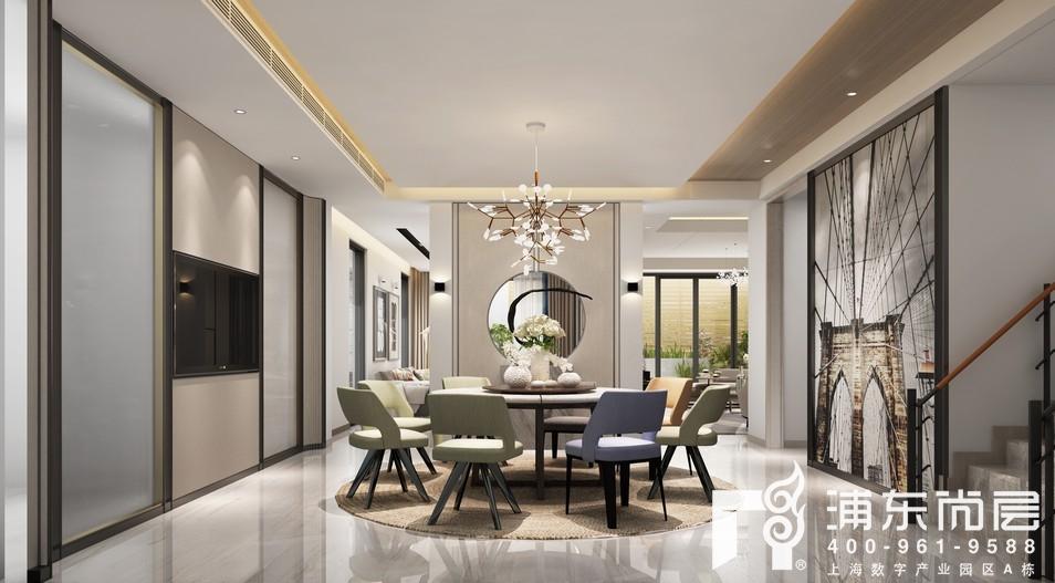新中式风格的汤臣高尔夫别墅餐厅设计,致力于打造一家人惬意的团圆饭
