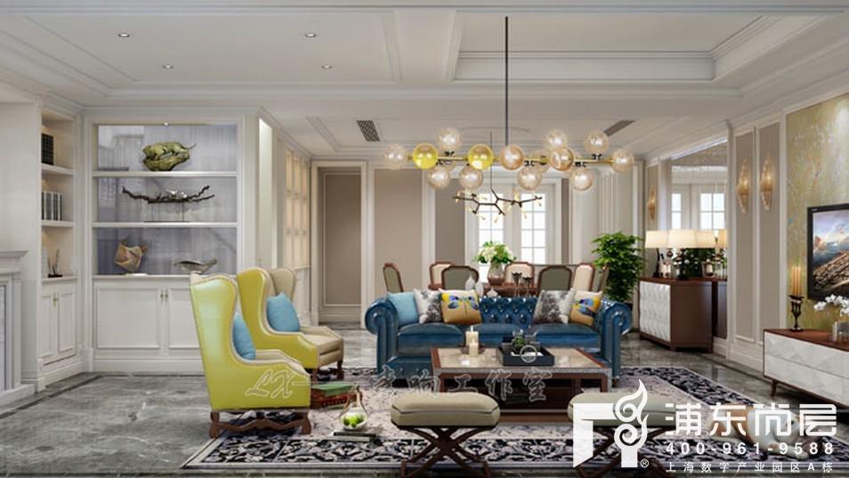 誉品源墅混搭风格别墅客厅装修效果图