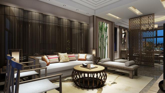 康桥半岛新中式风格别墅客厅装修效果图