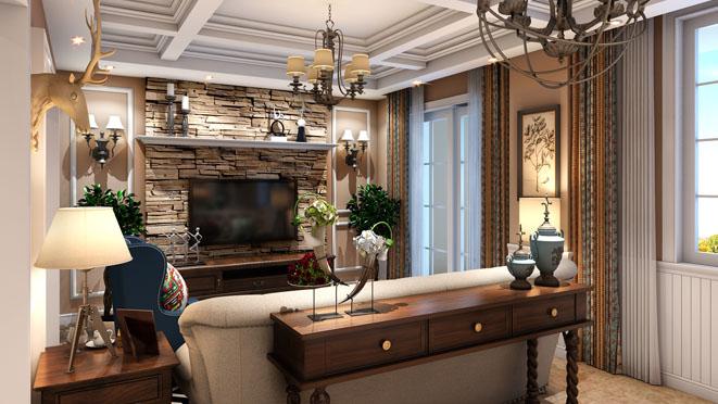 270平米简美风格别墅客厅装修效果图