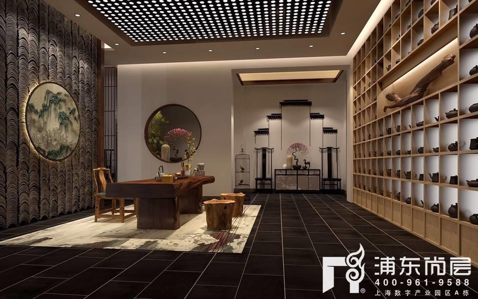 中式风格工装办公室效果图