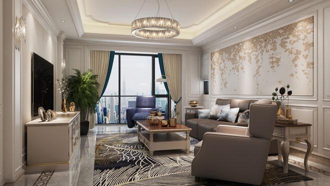 融创滨江壹号院现代美式风格客厅装修效果图