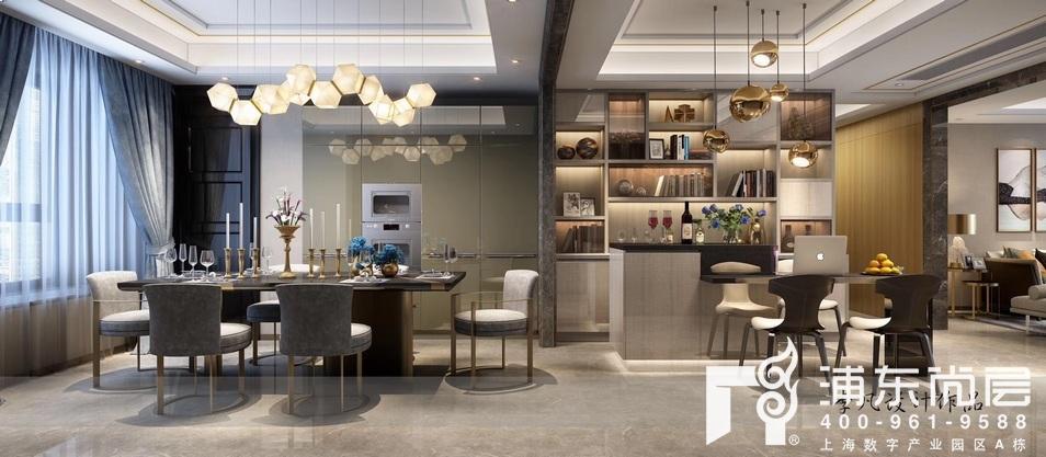 万科翡翠雅宾利现代轻奢风格餐厅装修效果图