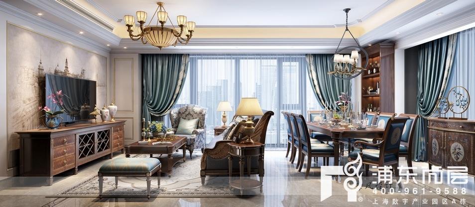 融创滨江壹号院美式古典风格客餐厅装修效果图