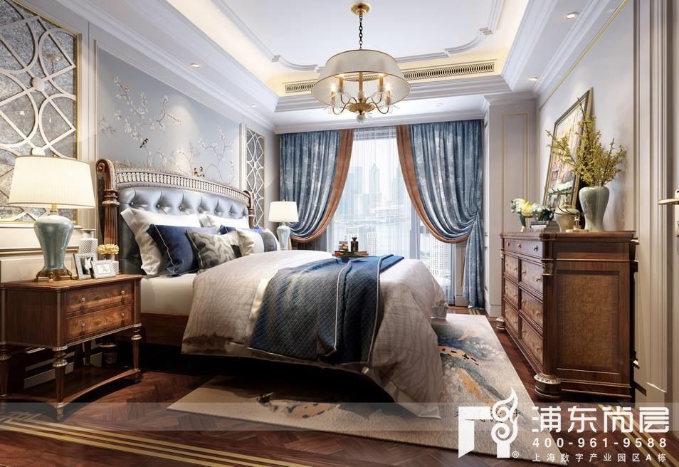 融创滨江壹号院美式古典风格卧室装修效果图