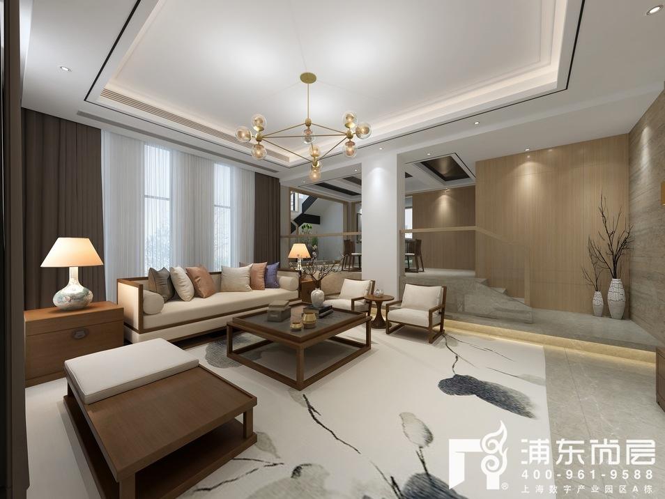 枫丹白露新中式风格客厅装修效果图