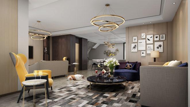 森兰名轩低奢风格别墅客厅装修设计效果图