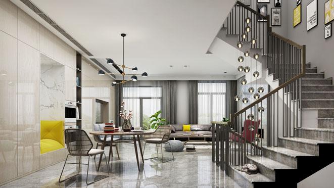 上海庄园北欧风格别墅客餐厅装修效果图