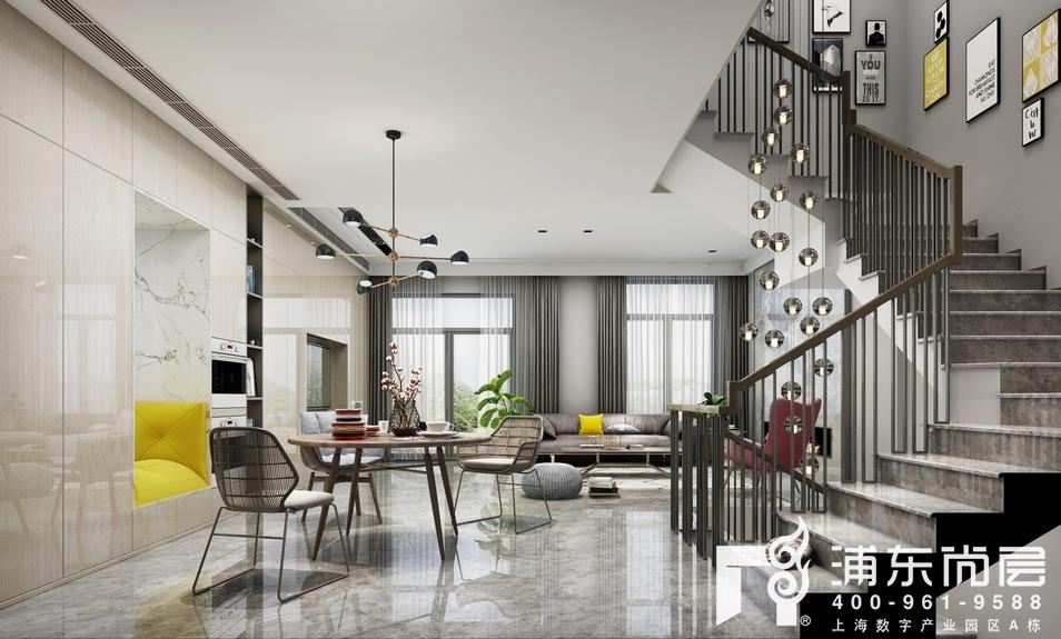 上海庄园地下室娱乐空间的效果图中,是作为家庭影音室使用,黑色皮质的沙发加一个鹅黄色单人沙发椅,在沉稳中不失时尚的格调,木质的走廊柜凸显北欧风格的素雅美学。 以上就是本项目上海庄园北欧风格的别墅装修效果图,清新淡雅的北欧风格,给居住者宁静安逸的感受,与生俱来的拥有一种融入自然的魅力。
