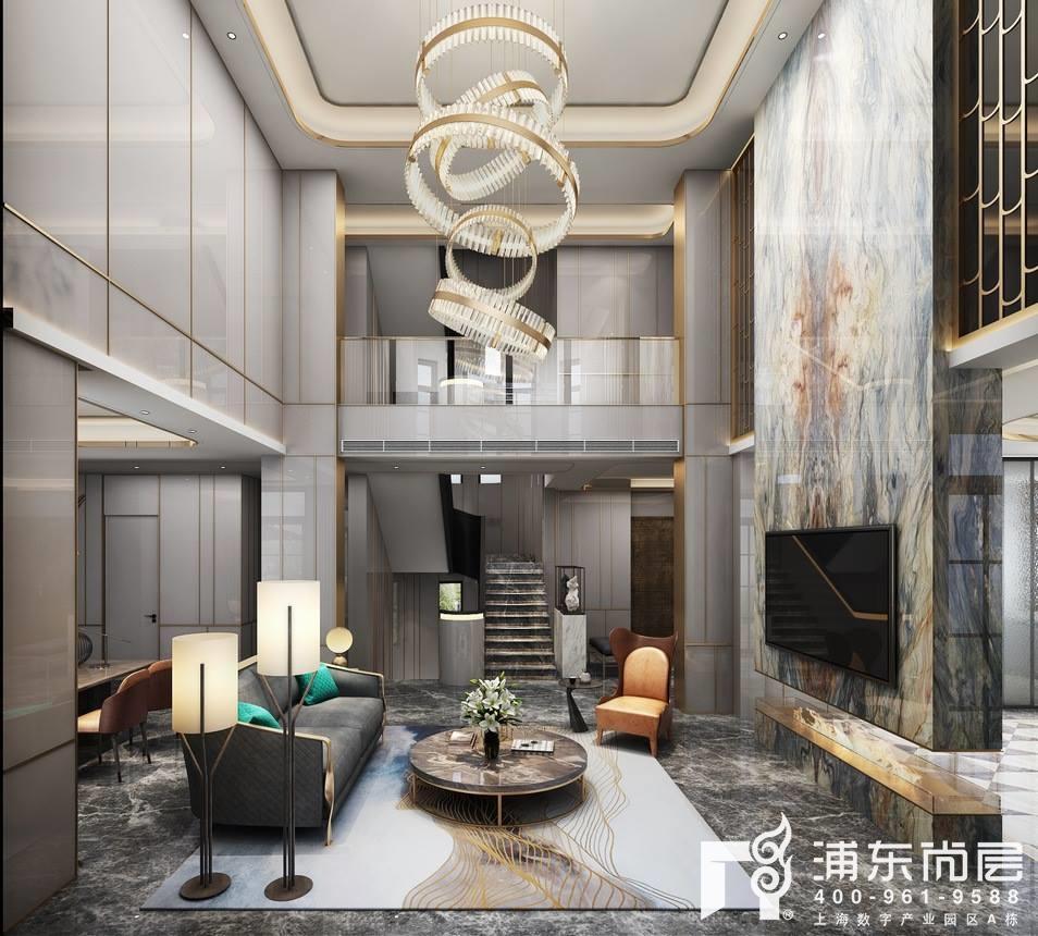 中建大公馆现代轻奢风格别墅客厅装修效果图