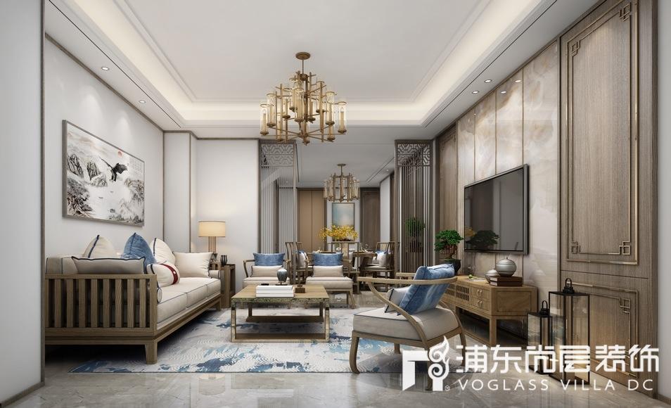 森兰名轩新中式风格客厅装修设计效果图