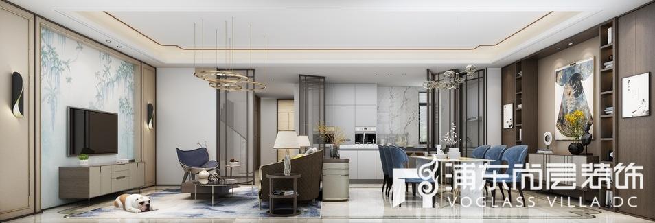 森兰名轩低奢混搭风格客餐厅装修设计效果图