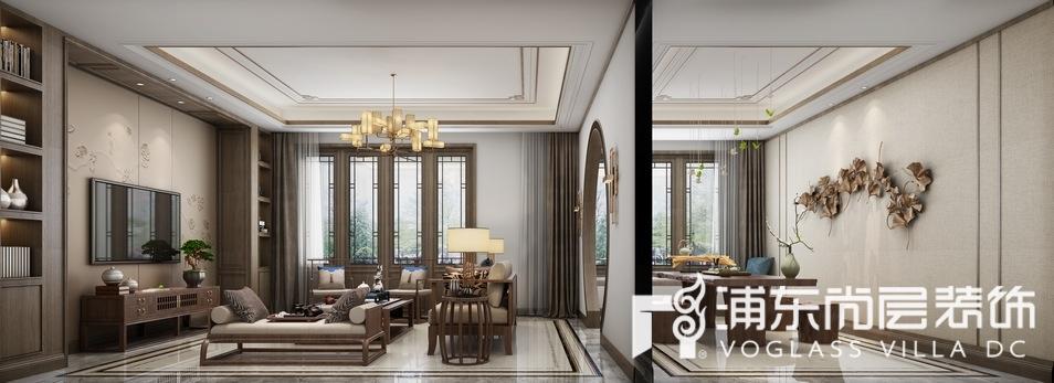 森兰名轩现代中式混搭风格起居室装修效果图