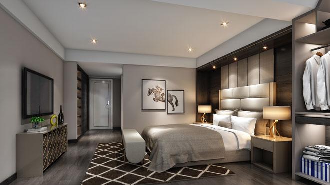东方城市花园现代风格卧室装修设计效果图