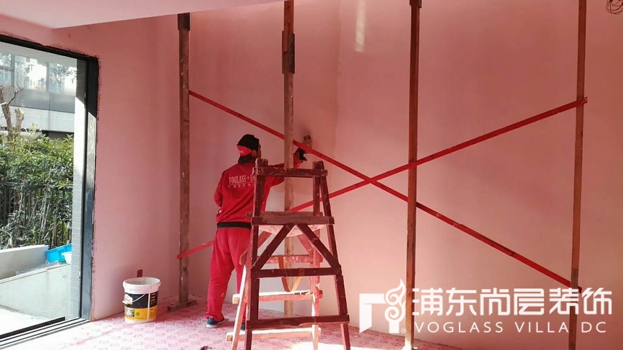 泷湾苑上海别墅装修工地现场照片