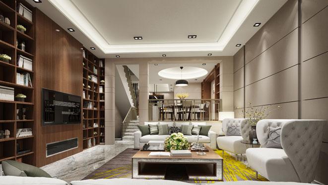 中大九里德现代风格别墅客厅装修效果图