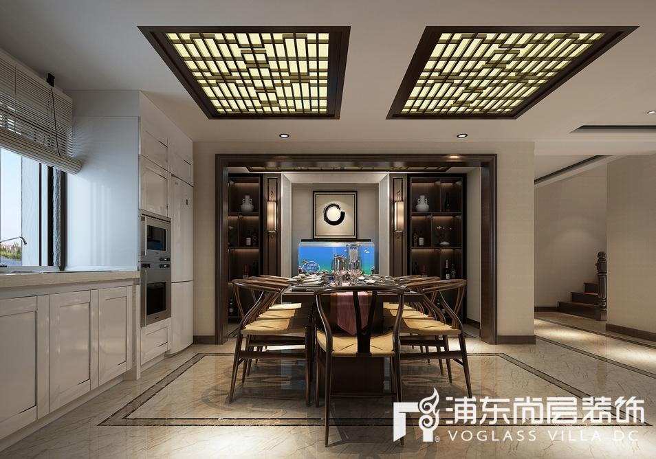 保利西山林语新中式风格别墅餐厅装修效果图
