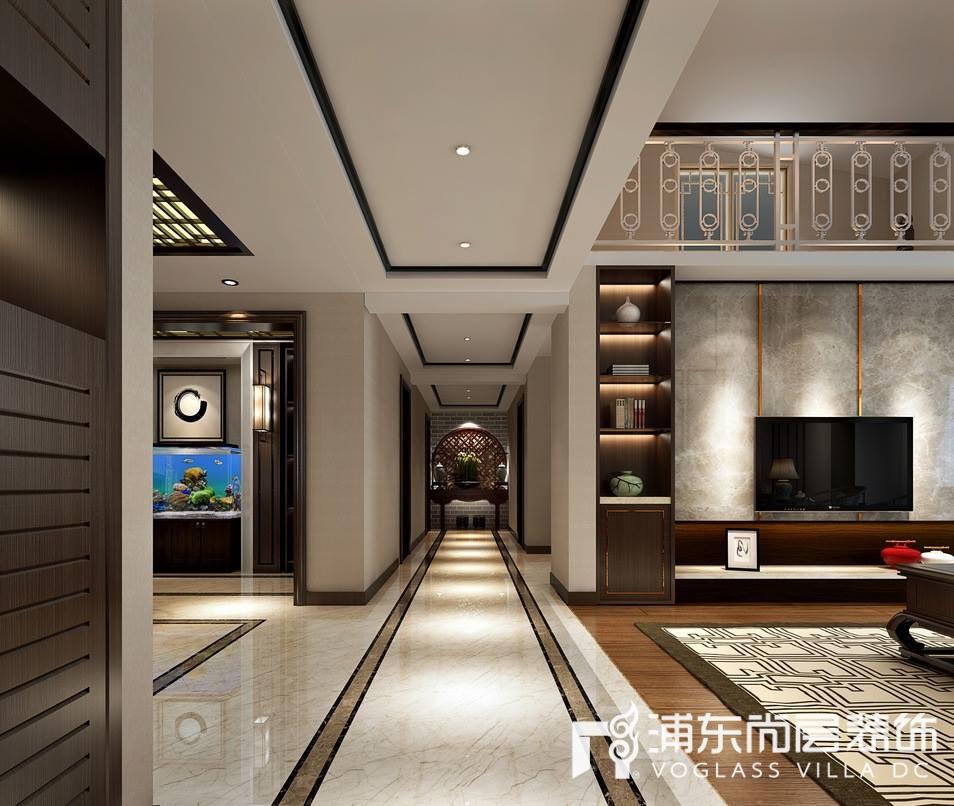 新中式风格别墅走廊装修设计效果图