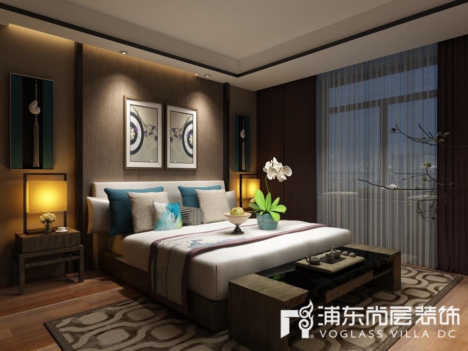 新中式风格别墅主卧装修设计效果图