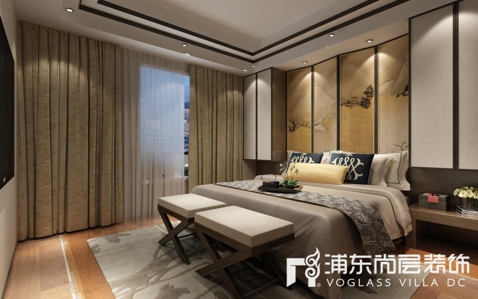 新中式风格别墅次卧装修设计效果图