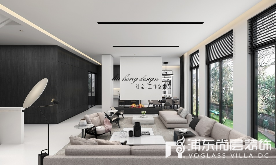 东郊罗兰极简主义风格别墅客厅装修效果图