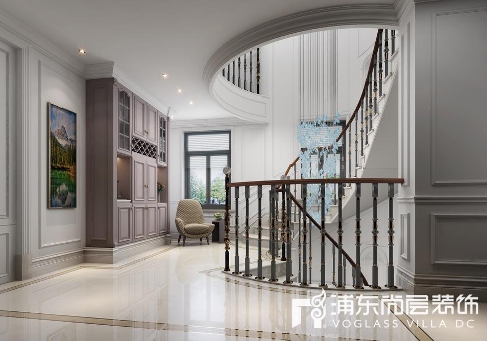 东郊罗兰独栋别墅楼梯间装修设计效果图