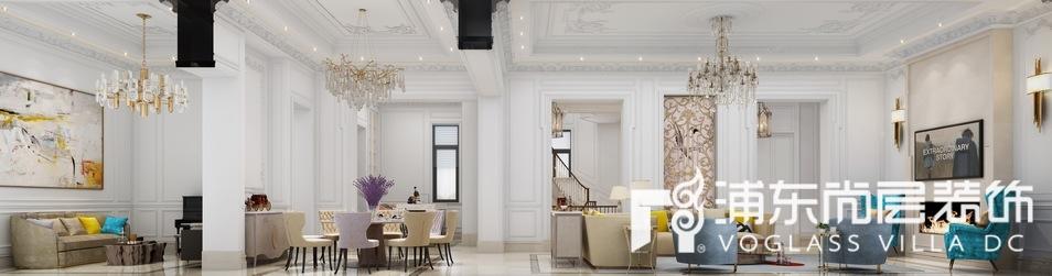 东郊罗兰法式风格别墅客厅装修效果图