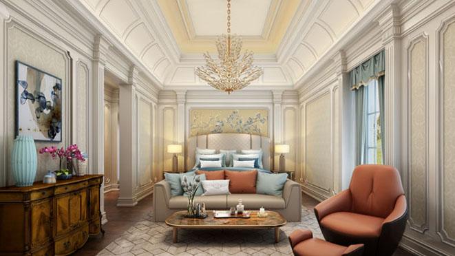 绿城玫瑰园豪宅别墅卧室装修效果图