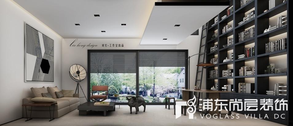 上海泷湾苑别墅阅读室书房装修效果图