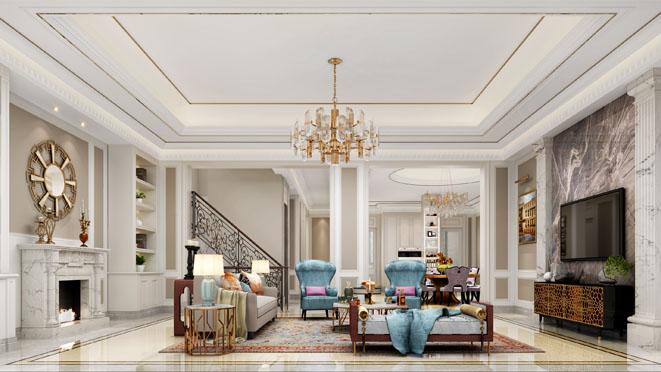 中海紫御豪庭简美混搭风格别墅装修效果图