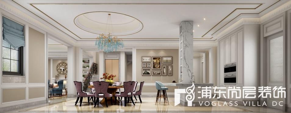 中海紫御豪庭简美混搭风格别墅餐厅装修效果图