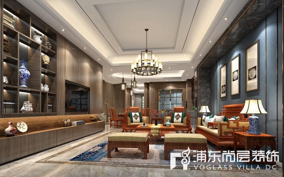 宝华源墅新中式风格别墅客厅装修效果图